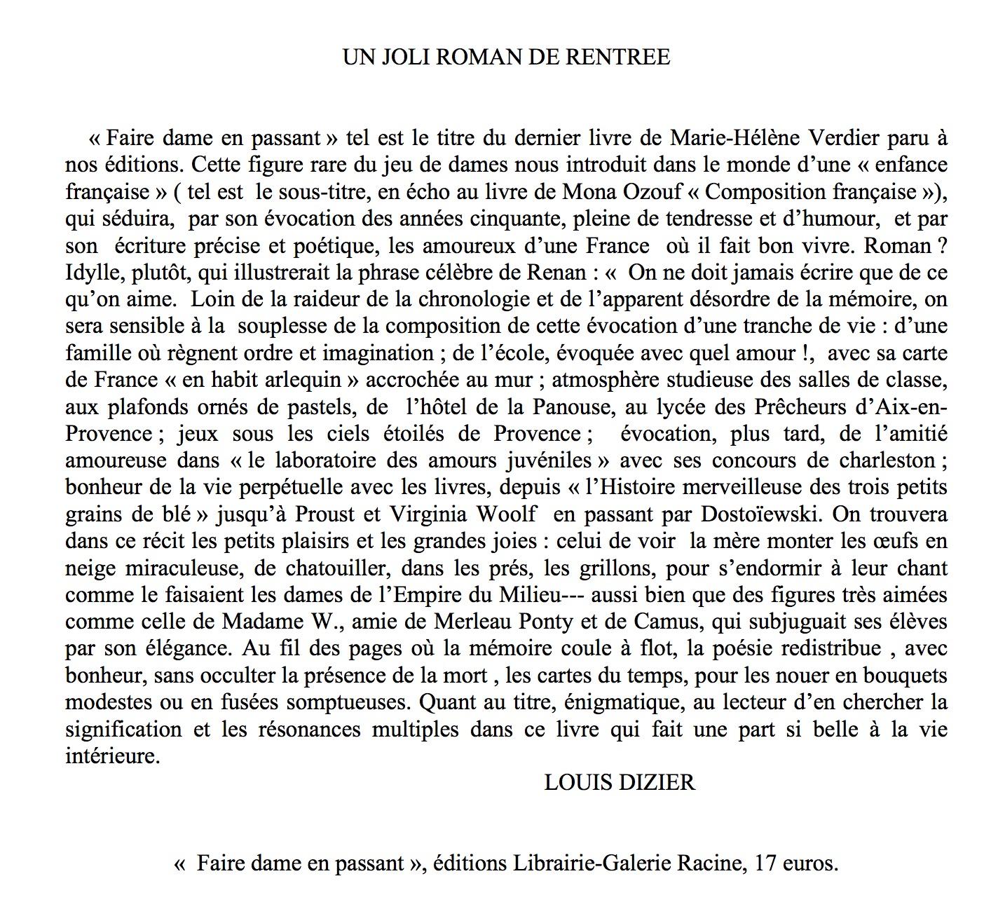 Marie-Hélène Verdier - Faire dame en passant