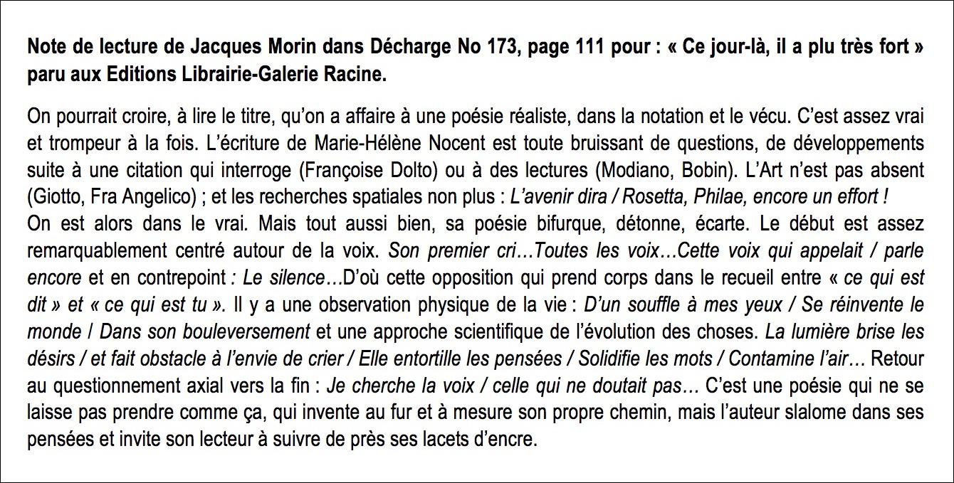Marie-Hélène NOCENT - Note de lecture